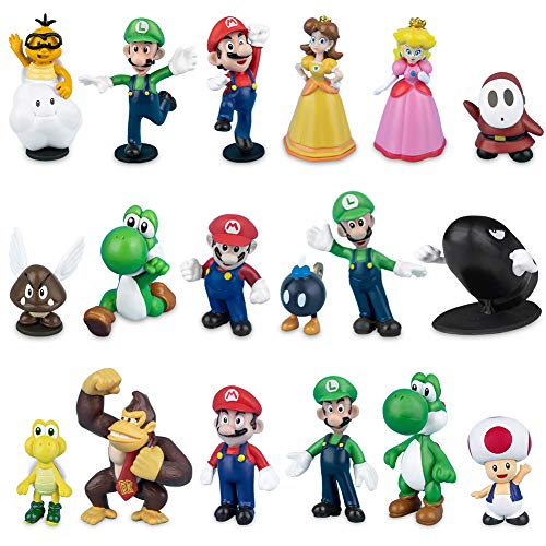 Labeol 18 Stück Super Mario Brothers Mini Figuren Set Geburtstags...