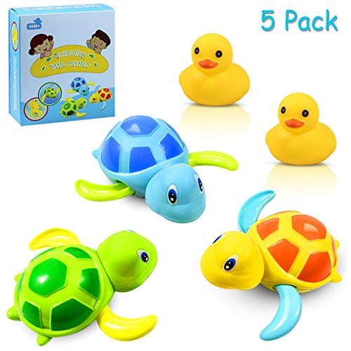 Yojoloin 3 Farben Baby Badespielzeug,Baby Bade Bad Schwimmen Badewanne Pool Spielzeug Uhrwerk Schildkröte...