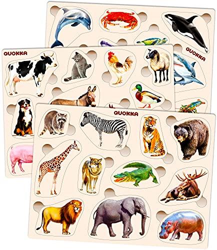 Spielzeug Puzzle ab 1 2 3 Jahre - Montessori Holz Steckpuzzle für...