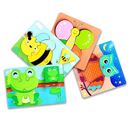 SHONCO Holzspielzeug ab 1 2 3 Jahren, 4 Stück Holz Montessori Spielzeug ,Lernspielzeug Pädagogisches...