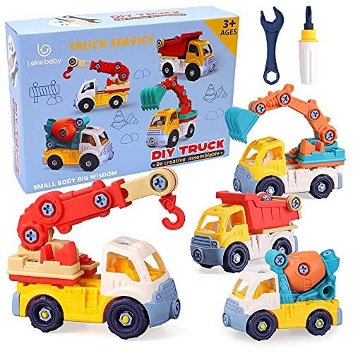 Lekebaby Montage Spielzeug Auto mit Werkzeugen 4 in 1 DIY BAU LKW Set...