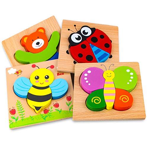 Afufu Holzpuzzle, Holzspielzeug ab 1 2 3 Jahren, 4 Stück Steckpuzzle...