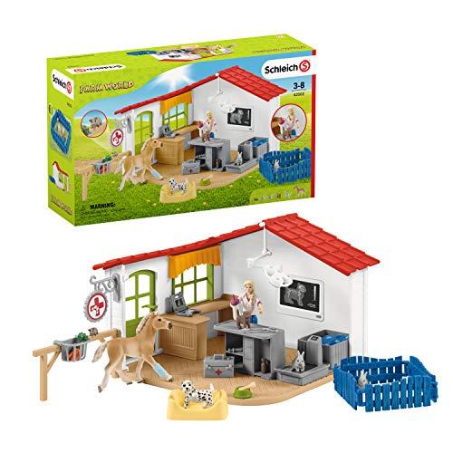 Schleich 42502 Farm World Spielset - Tierarzt-Praxis mit Haustieren,...