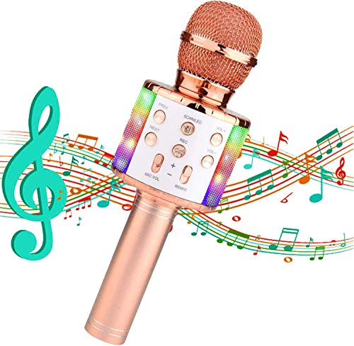 Karaoke Mikrofon,4-in-1Tragbarer Bluetooth Karaoke Mikrofon mit KTV...