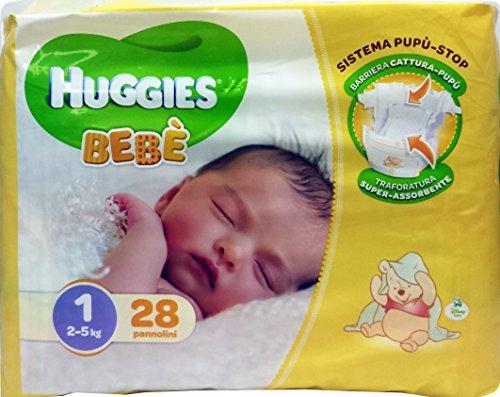 4 x HUGGIES Bebé Windeln 2-5 kg Größe 1 28 Stück