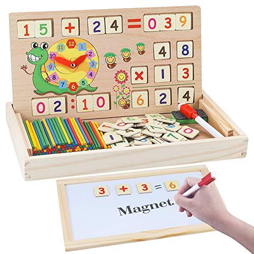 MEckily Montessori Holz Spielzeug ab 3 4 5 6 Jahr Jungen und Mädchen, Magnetisches Holzpuzzle mit 3 Lerntafel...