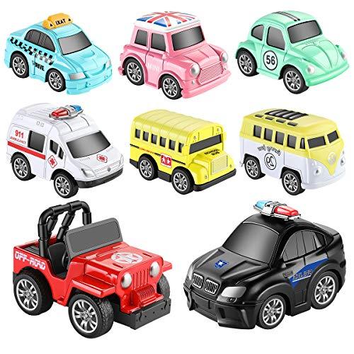 Aufziehautos Spielsachen Spielzeugauto Set Aufzieh LKW und Auto Spielzeug Druckgussautors für Jungen Mädchen...