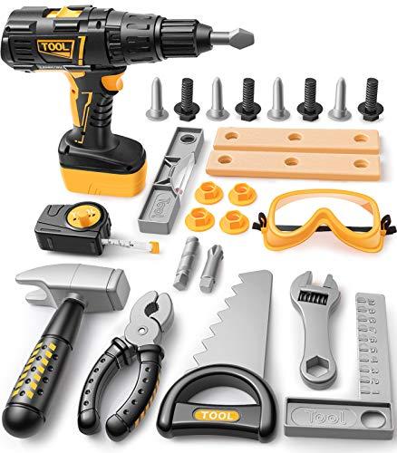 GeyiieTOYS Kinder Werkzeug Set, 27 Stücke Kinderwerkzeug Elektrische...