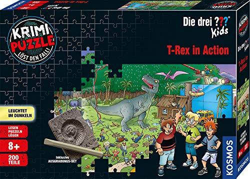 Kosmos 680657 Krimi Puzzle Die drei Kids – T-Rex in Action Leuchtet im Dunkeln mit 200 Teilen, Silver