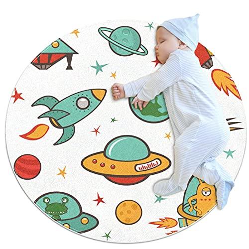 Rund Teppich Kinder Raketenplanet Kinderteppich Kreatives Drucken...