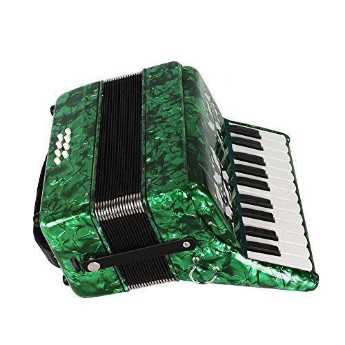 Dilwe Piano Akkordeon aus Ahorn Holz, 22 Tasten 8 Bass Akkordeon...