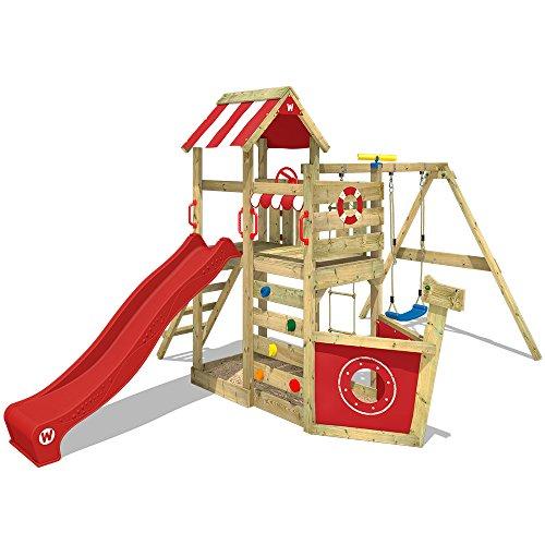 WICKEY Spielturm SeaFlyer Spielgerät Garten Kletterturm mit Schaukel, Rutsche und viel Zubehör, rote Rutsche...
