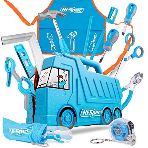 Hi-Spec 17 tlg. Kinder Werkzeugset mit LKW Box in blau, Kinderschürze...