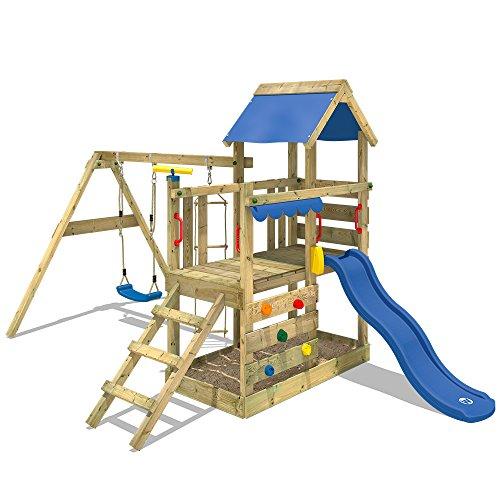 WICKEY Spielturm Klettergerüst TurboFlyer mit Schaukel & blauer...