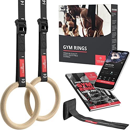 BeMaxx Turnringe Holz Gym Rings + Türanker & Trainings-eBook –...