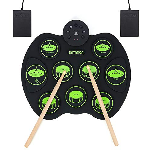 E-Drum Elektronisches Schlagzeug Kit 9 Pads, ammoon Tragbare Roll Up...
