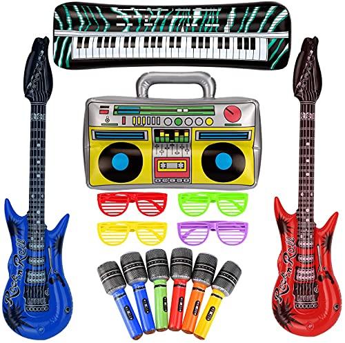 SAVITA 10 Stück Aufblasbare Rock Star Toy Set, Aufblasbare Gitarre...