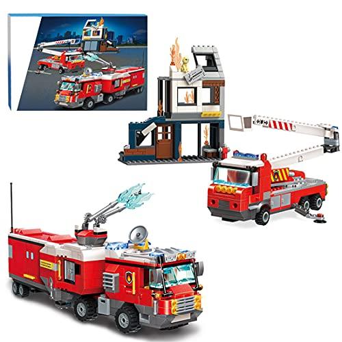 CALEN City Feuerwehr Station Baukasten mit Gebäuden, Feuerwehrautos,...