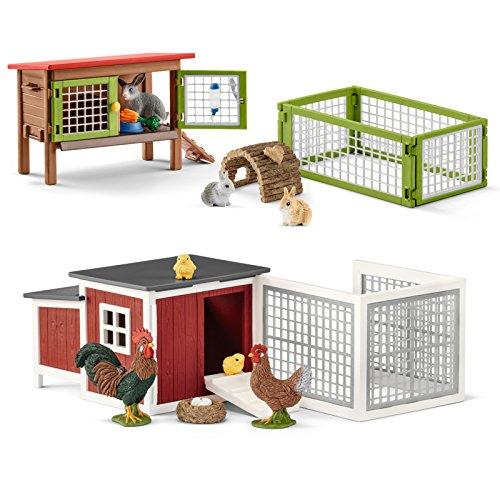 Schleich Farm Life Kaninchenstall mit Gehege 42420 und Hühnerstall...