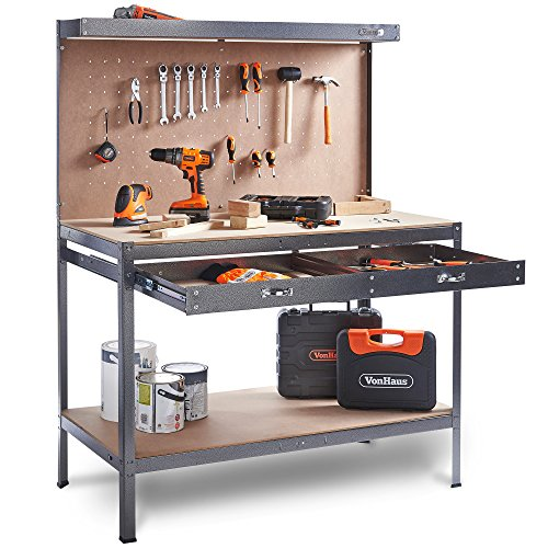VonHaus Werkbank Werkzeugbank Arbeitstisch Werkstattbank mit Schublade und Werkzeugwand Arbeitsplatte 230KG...