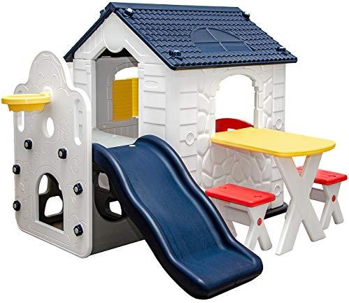 LittleTom Kinder Spielhaus mit Rutsche - Garten Kinderhaus ab 1 -...