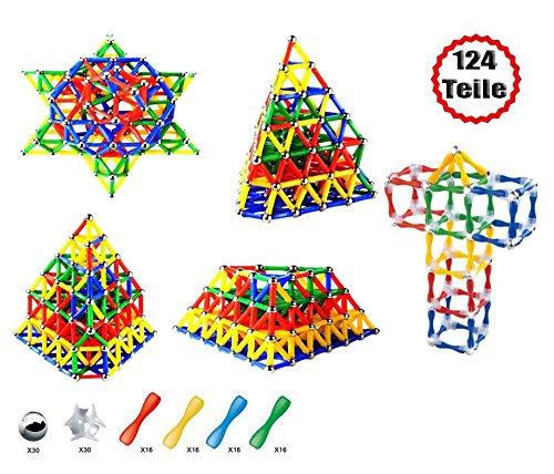 Brigamo Magnetspiel Mechanics, Magnet Spielset, 124-teiliges Magnetspielzeug