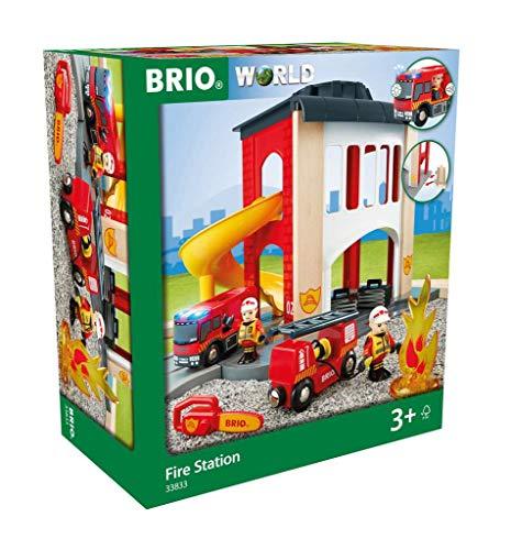 BRIO World 33833 Große Feuerwehr Station – Feuerwache mit...