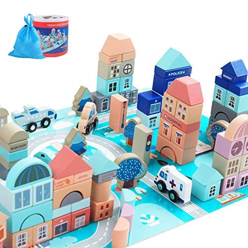 WFF Spielzeug Hölzerne Bausteine Spiele-Set for 3-Jährige und...