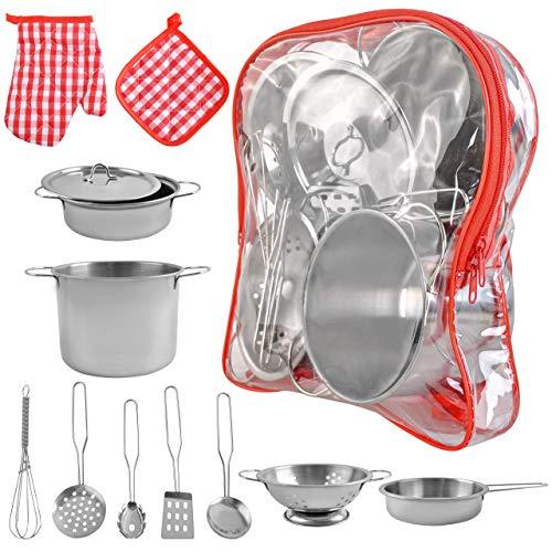 ISO TRADE Kinder-Küchen-Set mit Töpfen und Pfannen Spielset aus...