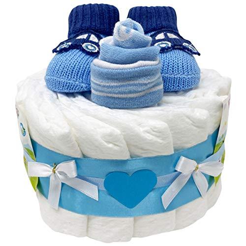 Kleine Windeltorte Booties Boy in blau für Jungen. Geschenk zur...
