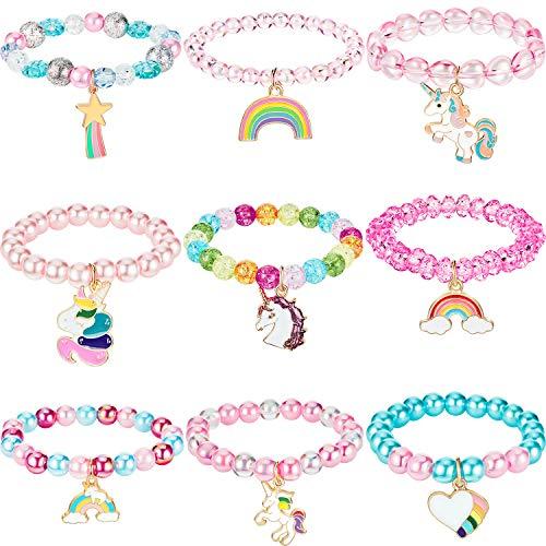 9 Stück Bunte Einhorn Armband Mädchen Einhorn Armbänder Regenbogen...