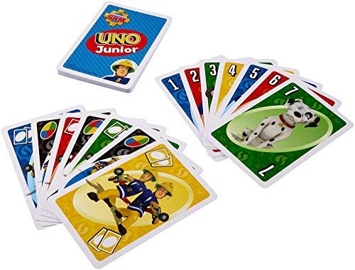 Mattel Games FMW18 UNO Junior Feuerwehrmann Sam Kartenspiel für Kinder, geeignet für 2 - 10 Spieler,...