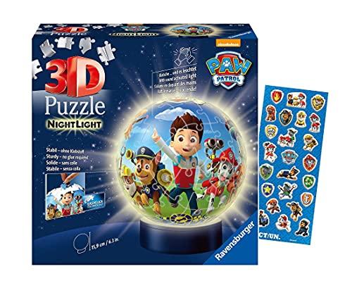 Ravensburger 3D Puzzle 11842 - Nachtlicht Puzzle-Ball Paw Patrol - 72...