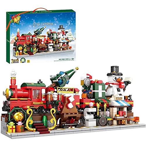 FYHCY Weihnachten Zug Bausteine Modell mit Licht, 838 Teile 1in4...