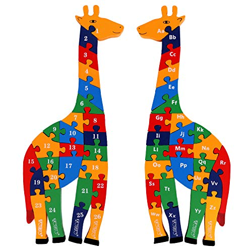 Toys of Wood Oxford Holzpuzzle Giraffe - Alphabet und Zahlen Puzzle -...