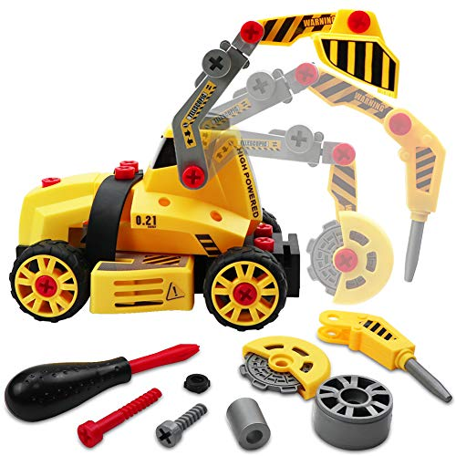 LIVEHITOP Montage Spielzeug Auto LKW, 7 in 1 Baufahrzeug mit...
