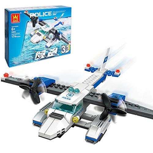 WWEI City Polizei Bausteine Spielzeug, 174 Teile Flugzeugpatrouille...