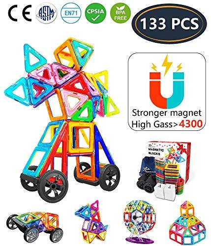 Jasonwell Magnetische Bausteine 133 Teile Magnete Bauklötze Konstruktion Blöcke Bausatz Kreative Spielzeuge...