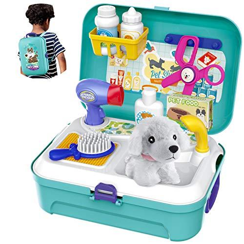 HERSITY Tierarztkoffer mit Hund Tierarzt Spielset im Rucksack Rollenspiel Spielzeug Geschenke für Kinder...
