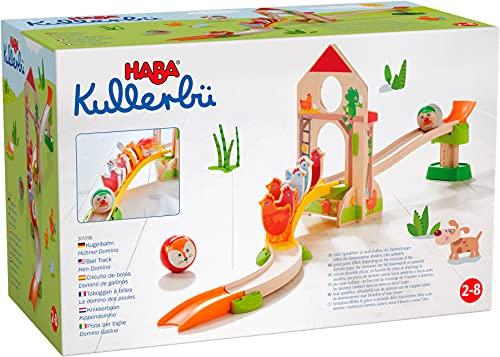 HABA 305396 - Kullerbü – Kugelbahn Hühner-Domino, Kugelbahn aus...