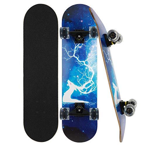 CLYCTIP Skateboard Komplett Board 79x20cm Holzboard ABEC-7 Kugellager 31 Zoll 7-lagigem Ahornholz, 85A...