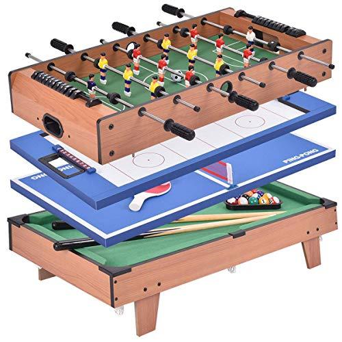 COSTWAY 4 in 1 Spieltisch, Tischkicker & Air Hockeytisch &...