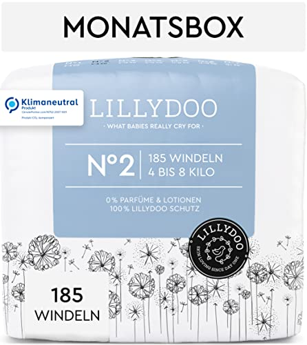 LILLYDOO Windeln, Größe 2 (4-8 kg), 185 Windeln - Monatsbox