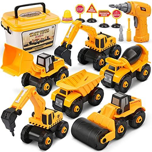 Dreamon Montage LKW Spielzeug, Bagger Spielzeug mit Elektro-Drill für...