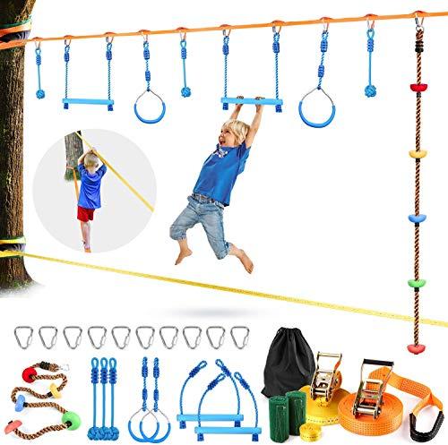 Odoland Slackline Ninja Set Kinder mit 15m Band und Gymnastikringe und...