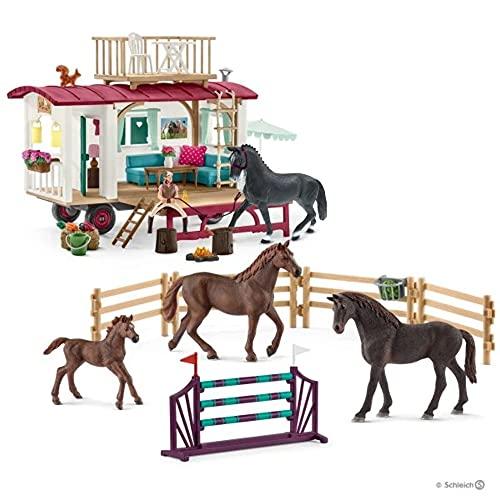 SCHLEICH 72141 Secret Training at The Caravan-55 Piece Set Horse Club,...