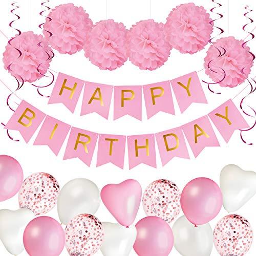 KUUBIA Geburtstagsdeko für Mädchen – Happy Birthday Girlande,...