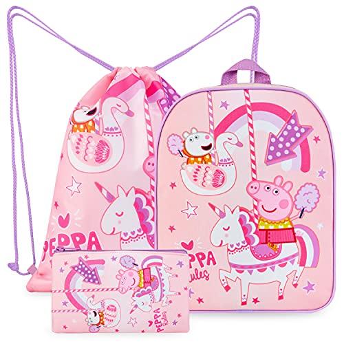 Peppa Pig Kindergartenrucksack Mädchen Set, Peppa Wutz Rucksack...