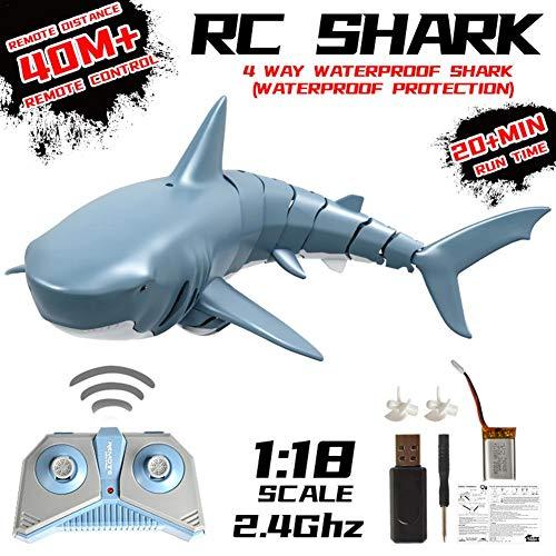 suncana 2.4G RC Boot Fernbedienung Hai Spielzeug ferngesteuertes Boot Simulation für Wasserspielzeug...