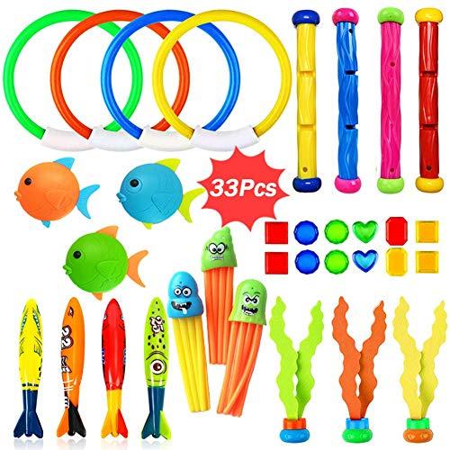 Dulabei 33 Stücke Tauchspielzeug Tauchen Spielzeug Tauchring,Schwimmbad Spielzeug Unterwasser Tauch Pool...